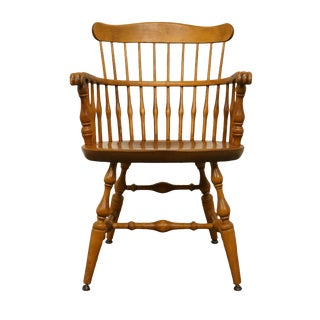 Late 20th Century Vintage Nichols & Stone Solid Maple Spindle Back Dining Arm Chair For Sale