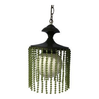 1970s Mid-Century Modern Avocado Green Swag Lamp For Sale