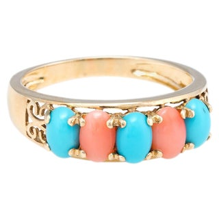 Vintage Turquoise Coral Ring 14 Karat Yellow Gold Estate Fine Jewelry Band For Sale