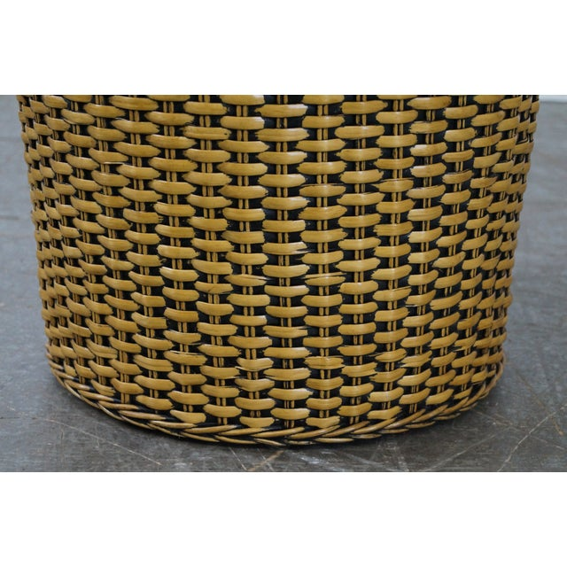 Woven Wicker Wrapped Cylinder End Tables - A Pair For Sale - Image 9 of 10