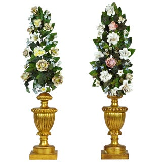Mid-19th Century Baroque Gilt Wood Urns With Painted Tole Flower Bouquets - a Pair