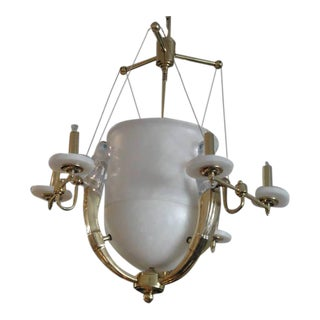 Alabaster and Brass Art Deco Style Chandelier For Sale
