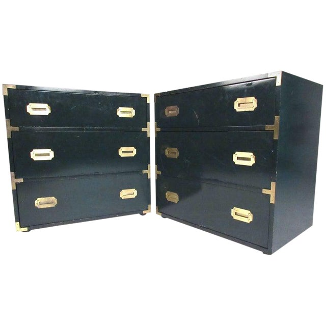 Pair of Vintage Modern Campaign Style Dressers For Sale