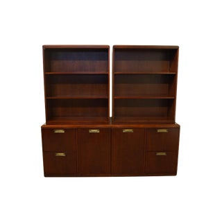 Vintage Kimball Furniture Contemporary Modern Cherry Executive Office Credenza With Bookcase Hutches For Sale