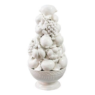 Italian White Creamware Fruit Topiary Centerpiece For Sale