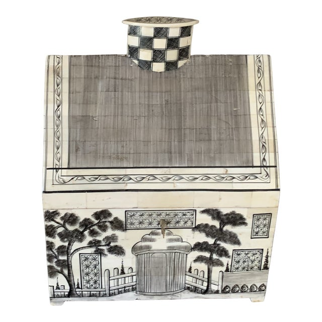 1990s John Rosselli Hand Painted House Shaped Money Box For Sale