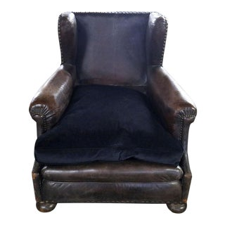 Brown Leather Wingback Armchair For Sale