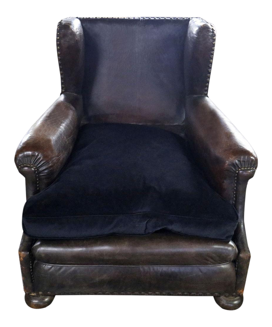 Delicieux Brown Leather Wingback Armchair
