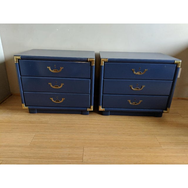 Blue Drexel Accolade Campaign High Gloss Blue Nightstands / End Tables - A Pair For Sale - Image 8 of 9