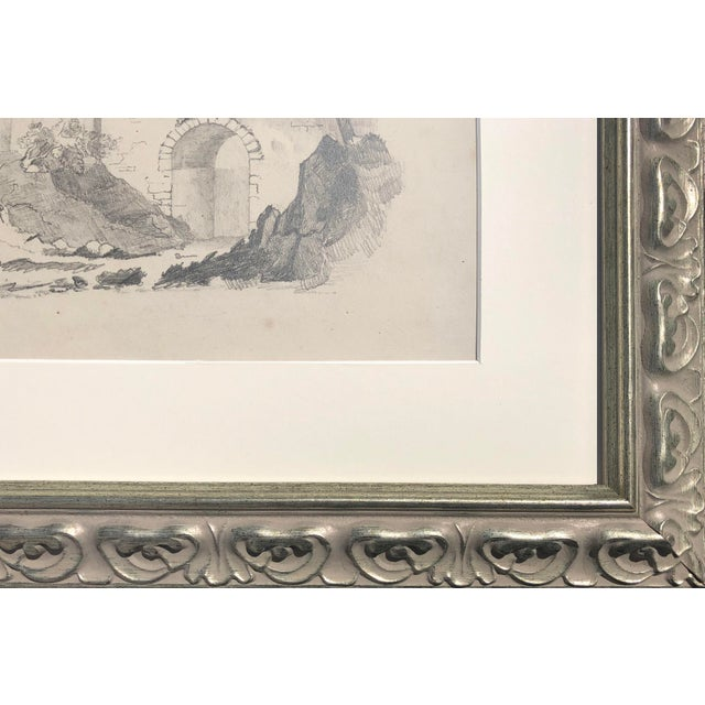 Mid 19th Century Antique 19th Century English Graphite Landscape Drawing With Castle C.1850 For Sale - Image 5 of 6