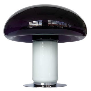 Vistosi Purple / Amethyst Murano Glass Mushroom Table Lamp For Sale