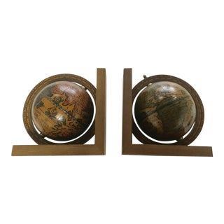 Vintage Italian Wood Globe Bookends - a Pair