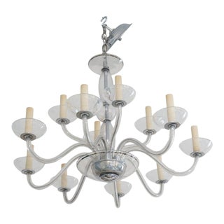 Art Deco 1930s Chandelier in Czech Glass, Sterling Silver and Chrome For Sale