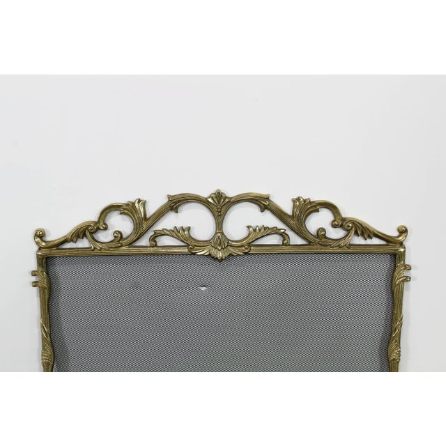 """Vintage solid brass screen fireplace Dimensions; 24""""Width x 1""""Depth x 30""""Height See pictures and condition for reference..."""