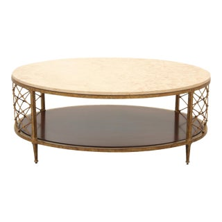 Oval Stone & Brass Coffee Table