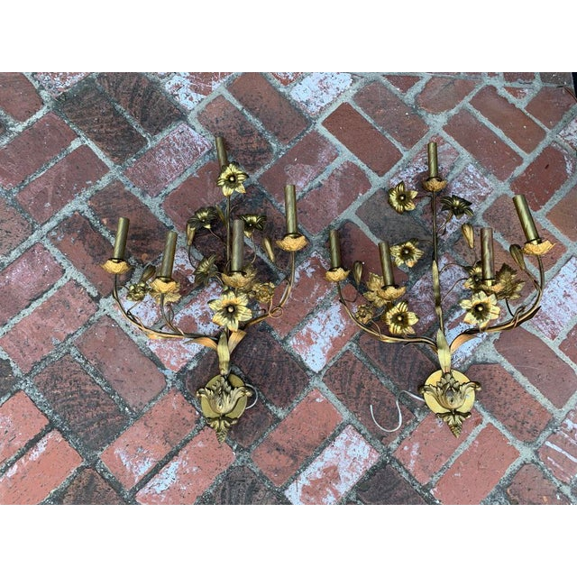 1920s 1920 Vintage Italian Brass Vintage Wall Sconce - a Pair For Sale - Image 5 of 5
