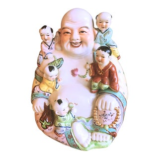 Large Chinese Ceramic Laughing Buddha With Children Statue For Sale
