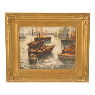 Impressionist Painting of Boats by Edouard Richard For Sale