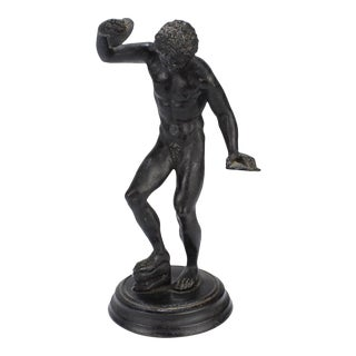 Antique 19th Century Cabinet Size Grand Tour Bronze Dancing Faun with Cymbals For Sale
