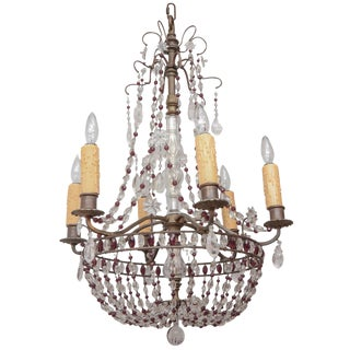 1900s French Bronze Beaded Chandelier With Amethyst and Rock Crystal For Sale