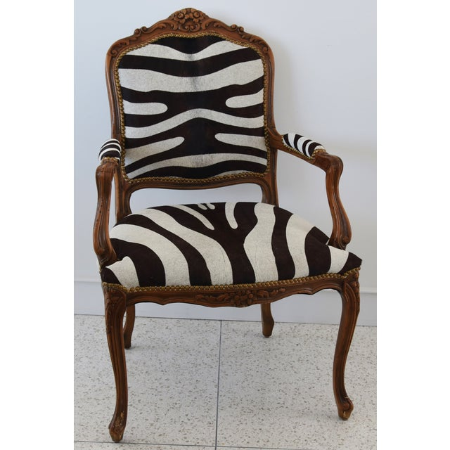 1950s Carved Hardwood & Tiger Cowhide Upholstered Armchair For Sale - Image 12 of 13