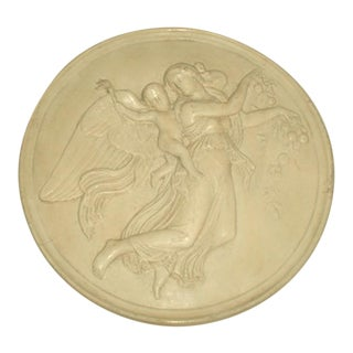19th Century Signed Italian Plaster Medallion For Sale