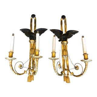 Antique Louis XVI Style Gilt-Wood Wall Sconces- A Pair For Sale
