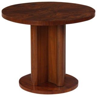 1930s French Art Deco Round Walnut Side Table For Sale