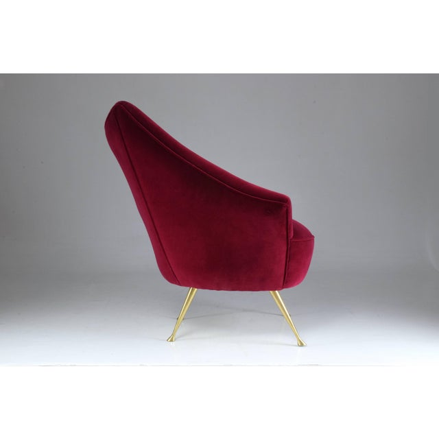 Red Italian Mid-Century Velvet Armchair For Sale - Image 8 of 11