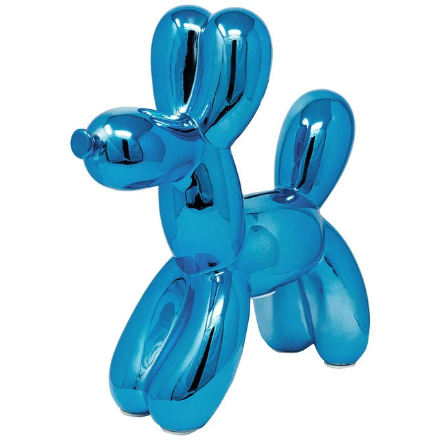 "Ceramic Interior Illusions Plus Royal Blue Balloon Dog Bank - 12"" Tall For Sale - Image 7 of 7"