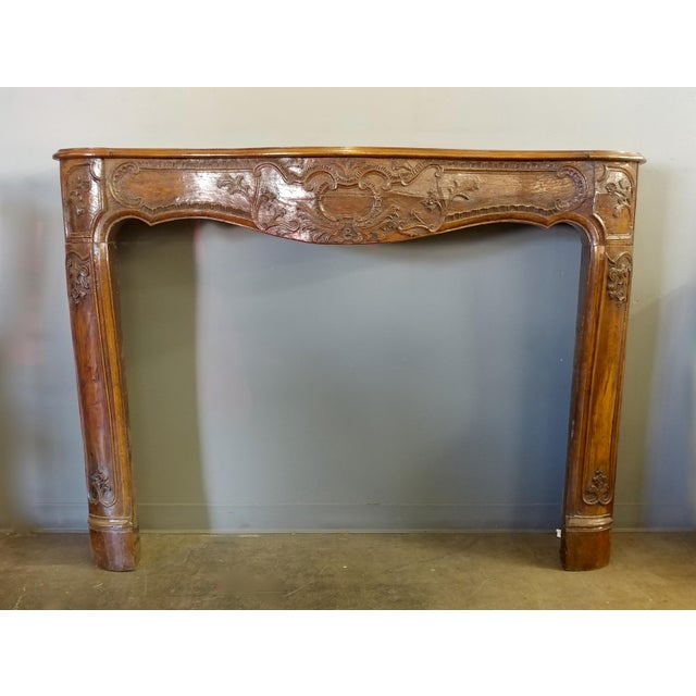 19th Century Hand Carved Walnut Fireplace Mantel - Image 2 of 10