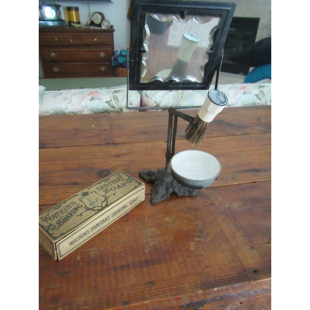 Cast Iron Victorian Era Cast Iron Shaving Mirror, Brush & Antique Soap Box Set For Sale - Image 7 of 9
