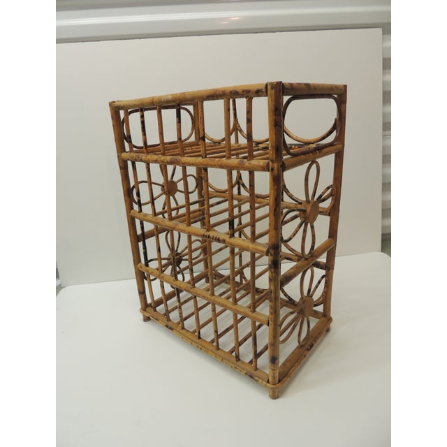 Vintage Faux Tortoise Bamboo Wine Rack For Sale - Image 4 of 7