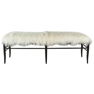 Gio Ponti Inspired Long Bench in Mongolian Lamb For Sale