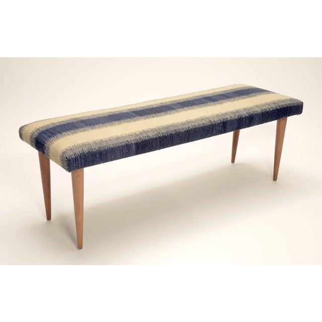 "Modern Adolfo Blue Stripe Kilim 48"" Bench For Sale - Image 3 of 3"