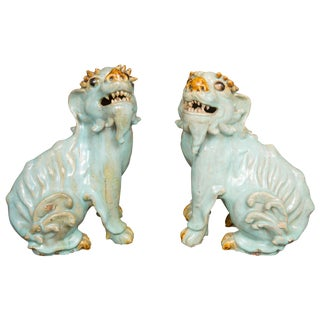 Chinese Glazed Bearded Dogs With Glass Inset Eyes - a Pair For Sale