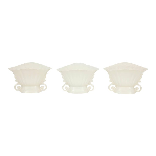 Trio of White Wade Vases - Set of 3 For Sale