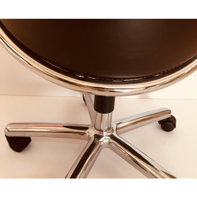 """""""Luna"""" Brown Leather Office Chair by Martino Perego for Fasem For Sale - Image 10 of 13"""