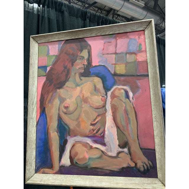 Very good vintage nude in a griege wood frame.