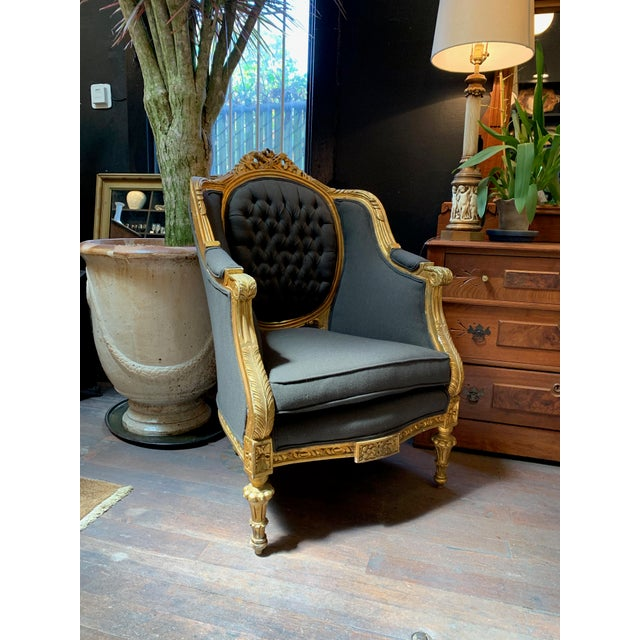 "Stunning Baroque style chairs with new grey blue upholstery on an original gold painted wood frame. 28"" wide x 28"" deep x..."