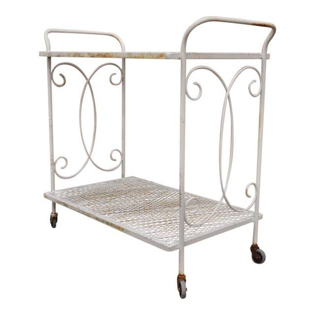 Vintage Wrought Iron Metal Mesh Patio Tea Cart For Sale