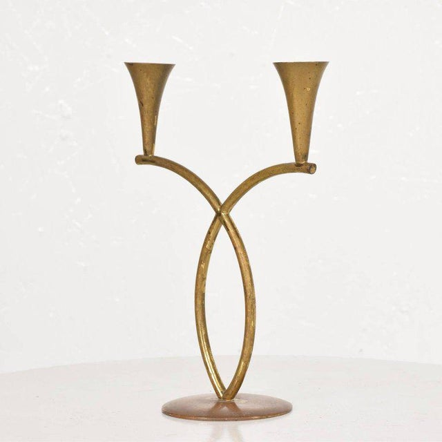 Brass Richard Rohac Brass Candleholder, Austria, 1950s For Sale - Image 7 of 7