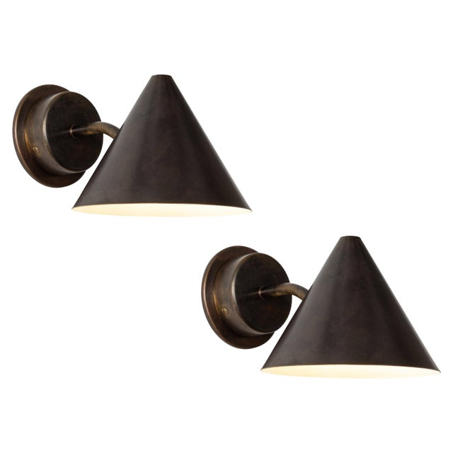 Hans-Agne Jakobsson 'Mini-Tratten' Patinated Brass Outdoor Sconces - a Pair For Sale - Image 9 of 9