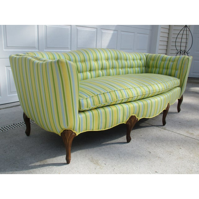 Chippendale Vintage French Striped Sofa For Sale - Image 3 of 12