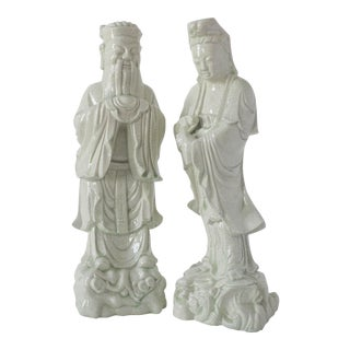 Chinese Celadon Statues - Pair For Sale
