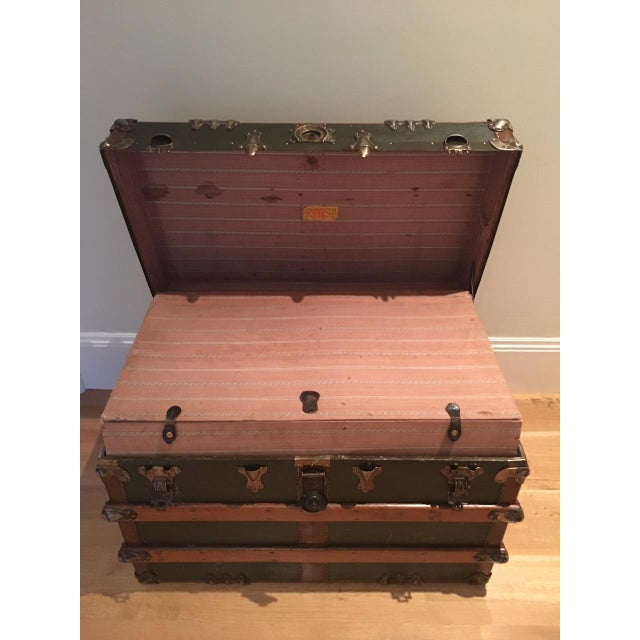 Antique English Steamer Trunk - Image 3 of 10