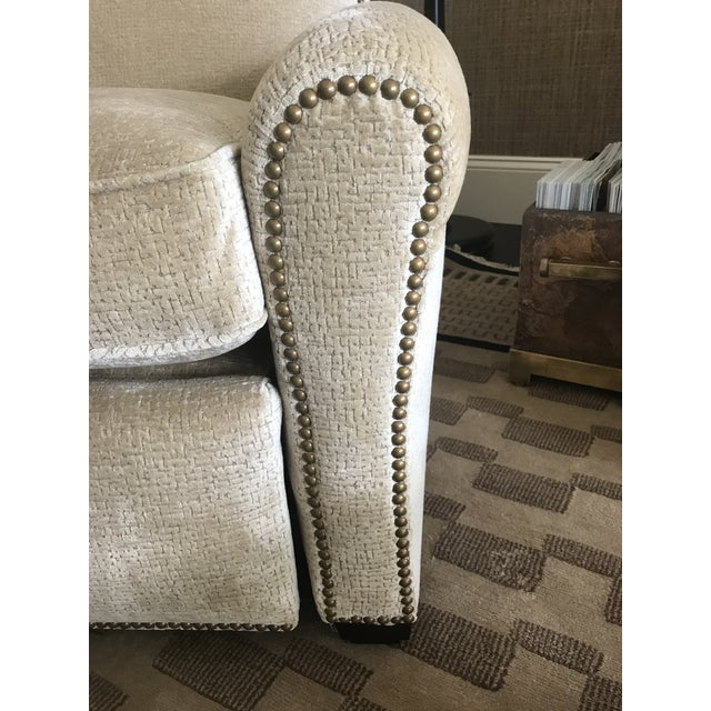Edward Ferrell-Lewis Mittman Greenwich Club Full Pitch Recliner - Fabric Is Lee Jofa Threads - Pattern Calisto - Color Parchment For Sale - Image 9 of 11