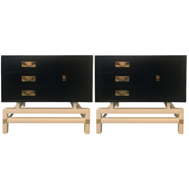 Mid-Century Modern Black and Brass Nightstands on White Base - a Pair For Sale