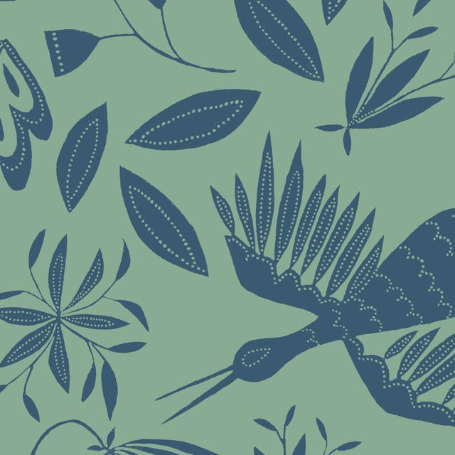 Julia Kipling Otomi Grand Wallpaper, 3 Yards, in Queen Anne's Lace For Sale - Image 4 of 4