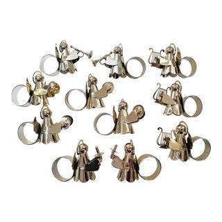 Vintage 1980s Brass Angel Choir/Musician Napkin Rings - Set of 11 For Sale